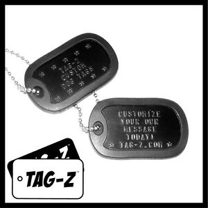 2-Military-Dog-Tags-Custom-Embossed-Black-GI-Identification-w-Silencers