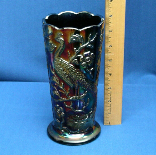 "VTG Fenton Dark Amethyst Peacock Garden Carnival Glass Vase Label early 8"""