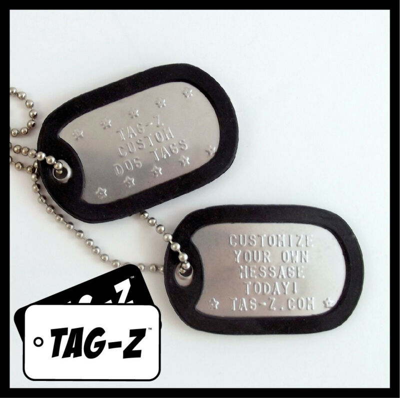 Custom Embossed Military Dog Tags - Stainless Steel  - 42 Silencer Colors! Tag-Z