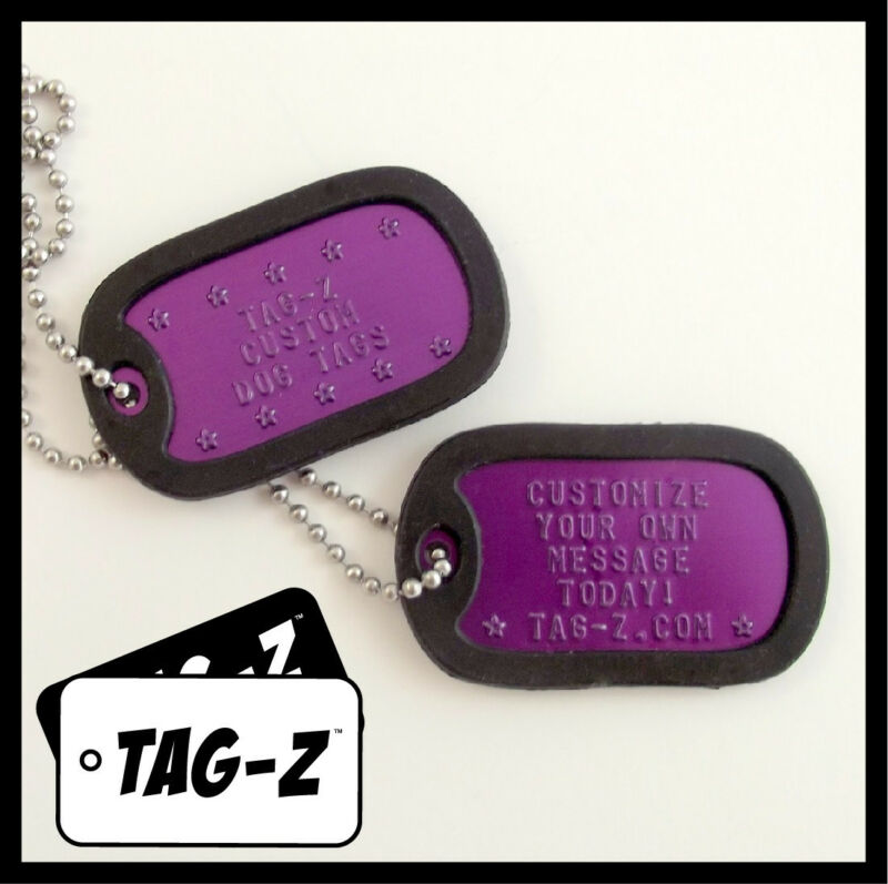 2 Military Dog Tags - Custom Embossed PURPLE -GI Identification w/ Silencers