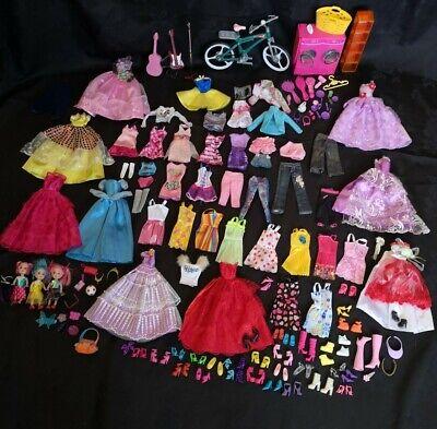 Large Barbie & Unbranded Clothes Shoes, Accessories Mini Dolls Bundle 100+ Items
