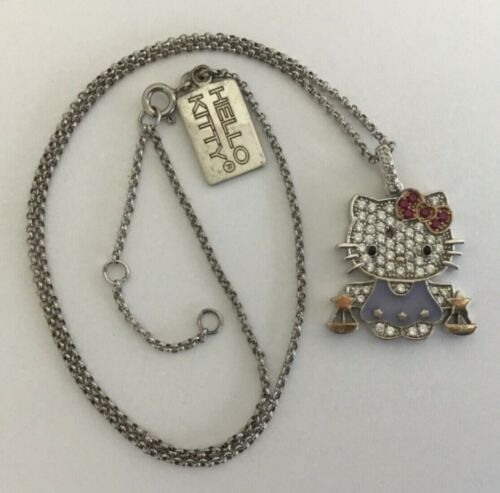 Sanrio 925 Sterling Silver Enamel CZ Hello Kitty Libra Pendant Adj Necklace
