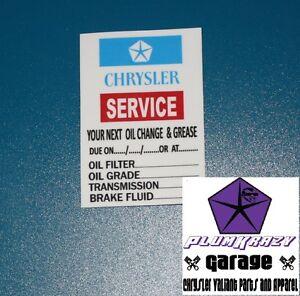 CHRYSLER VALIANT SERVICE DECAL CHARGER,PACER,770,SV1,AP,VC,VE,VG,VH,VJ,VK,CL,CM