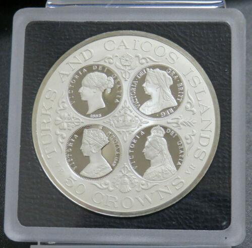 1977 Turks & Caicos Islands Proof Victoria 50 Crowns 1.64 oz Silver Low Mintage