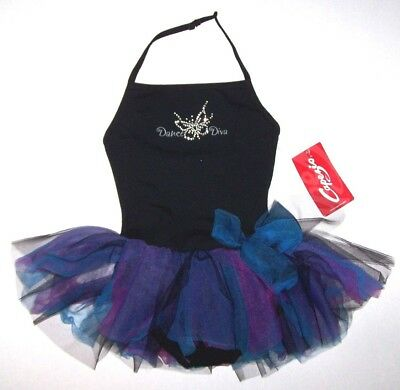Nwt New Capezio Dance Diva Halter Leotard Dress Tutu Skirt B