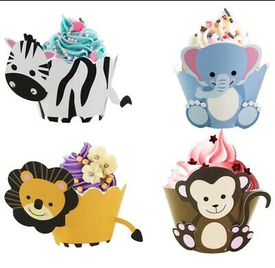 12pcs Jungle Party Decor Animals CupCake Wrapper