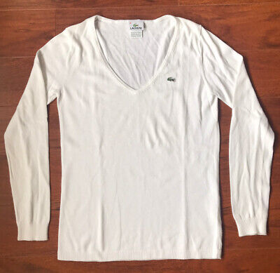 Lacoste Women's White V-Neck Knit Pullover Sweater Size 38 US M