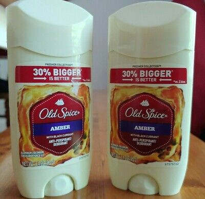 Old Spice Amber Deodorant 3.4Oz Two Pack Men Anti Perspirant Value Size (Solid Value Pack Anti Perspirant)