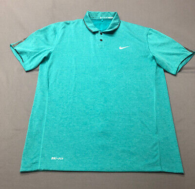 Nike Tiger Woods Collection Dri-Fit Golf Shirt Polo (M, Turquoise)(ZA)