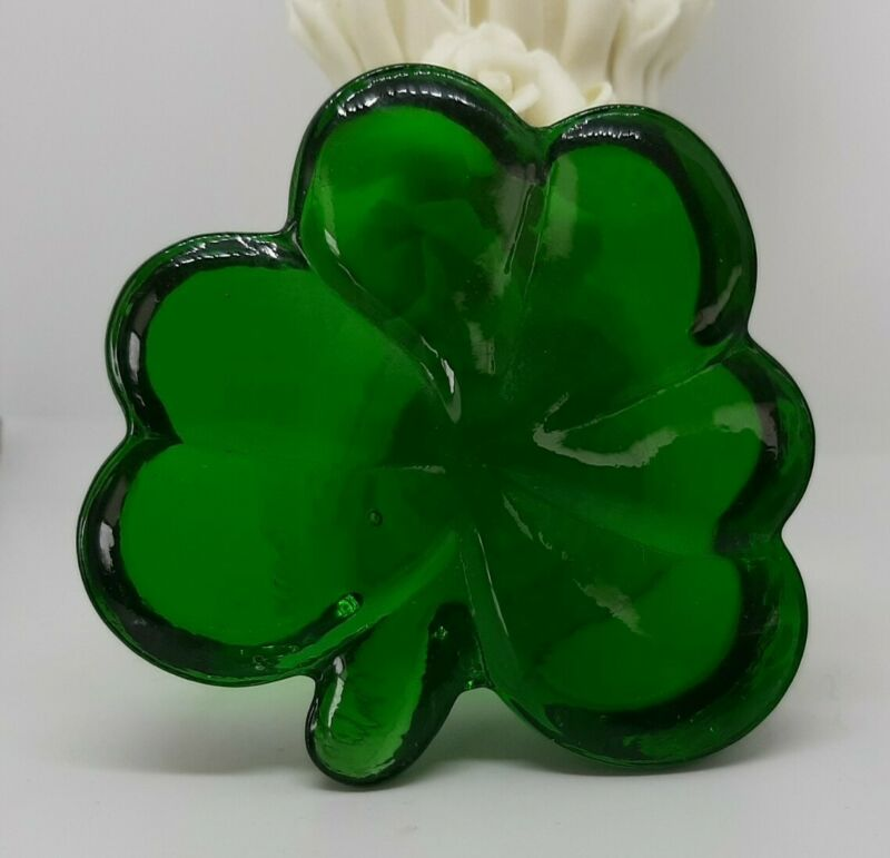 Green Shamrock In Glass Paperweight