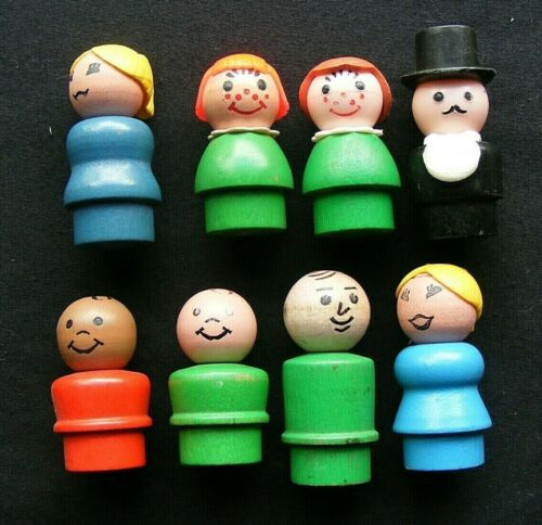 Lot 8 - Vintage Wooden Body Wood LITTLE PEOPLE Figures Fisher Price Toys