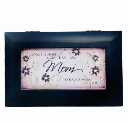 Cottage Garden Musical Jewelry Box MOM Bronze Wood Jeweled Small Black Pink New