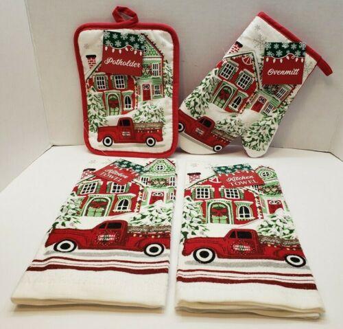New Christmas Set of 4 KITCHEN TOWELS POT HOLDER & OVEN MITT Red Truck Tree Farm