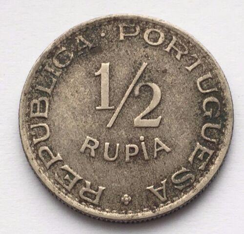 1947 INDIA-PORTUGUESE 1/2 RUPIA COIN