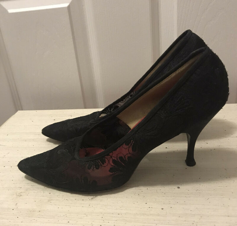 Vintage Black Floral Lace High Heel Shoes Pointy Toe Size 7 Narrow