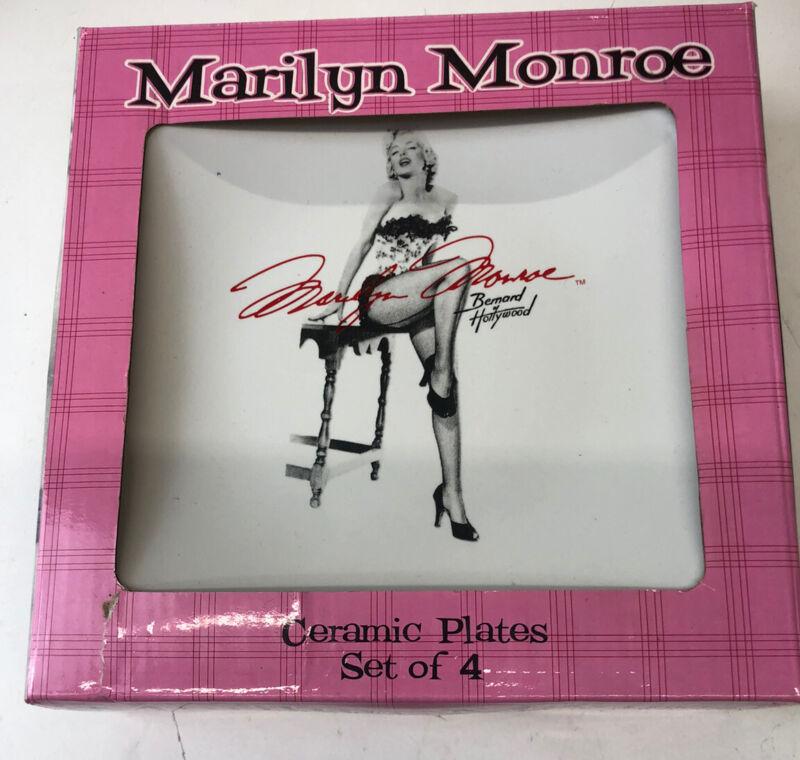 NOS Marilyn Monroe Bernard Hollywood Ceramic Plates Set Of 4 Dessert Lunch Size