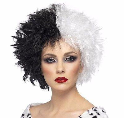 Womens Cruella Wig Black White Split Half Afro Style Fancy Dress Costume - White Afro