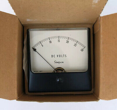 Simpson Model 1327 Analog Panel Meter 0-30 Dc Volts Nos In Box Unused