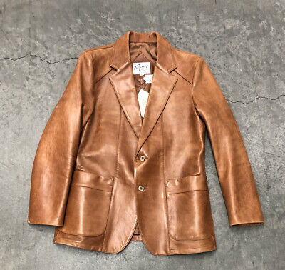 Mens Remy Leather Jacket.Size 42 Long.Cognac Two Button Closure.USA