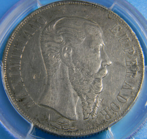 Mexico 1866-Mo Maximilian Peso PCGS Genuine XF Details rim dings