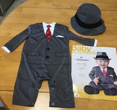 Baby Business Costume (In Character ~  Infant Costume, Baby Business, One Piece w/ Hat, XS / 6 Mos+)