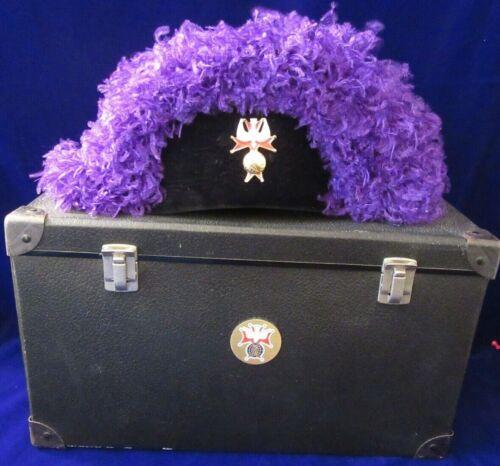 KNIGHTS OF COLUMBUS DEGREE REGALIA PURPLE OSTRICH FEATHER CHAPEAU HAT W/BOX SZ 8