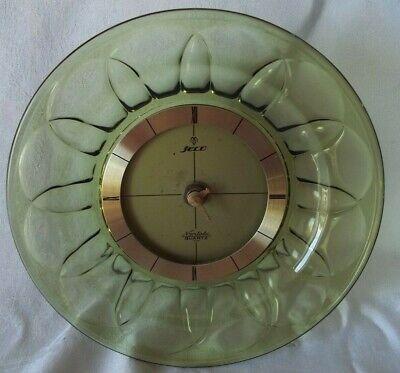JECO Noritake Green Clear Plate Clock 1970S Vintage Rare Quartz Works