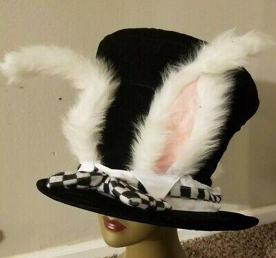 Adult White Rabbit Bunny Ears Hatter Alice In Wonderland Halloween Costume Hat