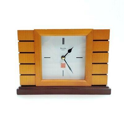 Bulova Usonian II Frank Lloyd Wright White Dial Quartz Mantel Clock B1659