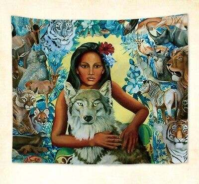 US Seller- large wall decor mother earth animals hamony wall hanging tapestry