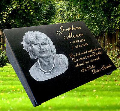 Grabstein Grabmal Grabplatte Granit mit Stütze, Fotogravur und Text, 40x30 cm