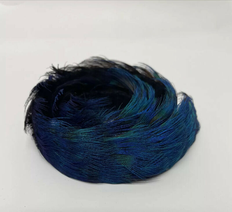 Vintage Handmade Blue Peacock Color Hawaii Pheasant Feather Lei Hat Band