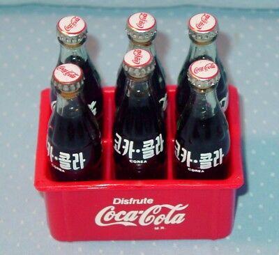 6 PAK Mini Coke Bottles Old Promo Korea, Mexico, Glass, Metal Tops