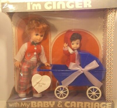 Lovee NY New  Drink Wet Doll 1971I'm Ginger Baby Carriage Doll Collectibe - Love New York Baby Doll