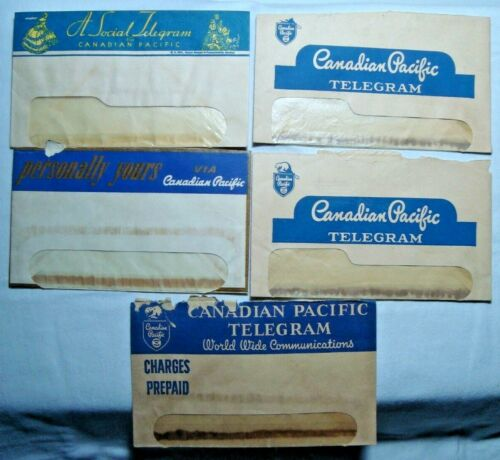 Canada Canadian Pacific Telegram rare vintage lot of 5 envelopes