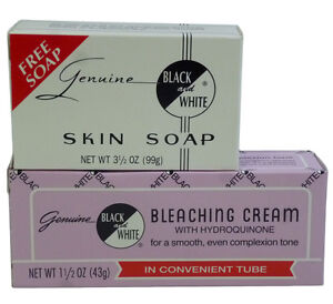 Genuine Black & White Bleaching Cream With Hydroquinone & Skin Soap COMBO SET