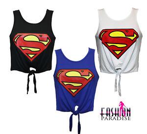 LADIES-WOMENS-SUPERMAN-LOGO-PRINTED-CROP-TOP-TIE-T-SHIRT-VEST-SIZE-8-10-12