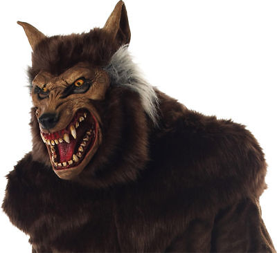 Morris Costumes Werewolf Brown Hair Full Overhead Halloween Latex Mask. MR035011