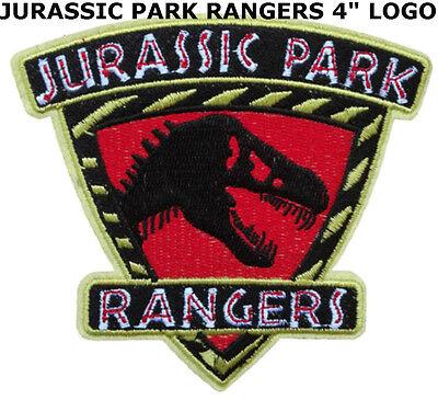 "Jurassic Park Movie Logo Stripe Rangers 4"" Deluxe Patch Dinosaur T-Rex New"