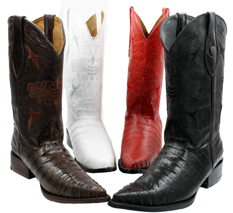 Mens, Handcrafted, Crocodile, Alligator, Belly, Print, Western, Cowboy, Boots, $$99.99