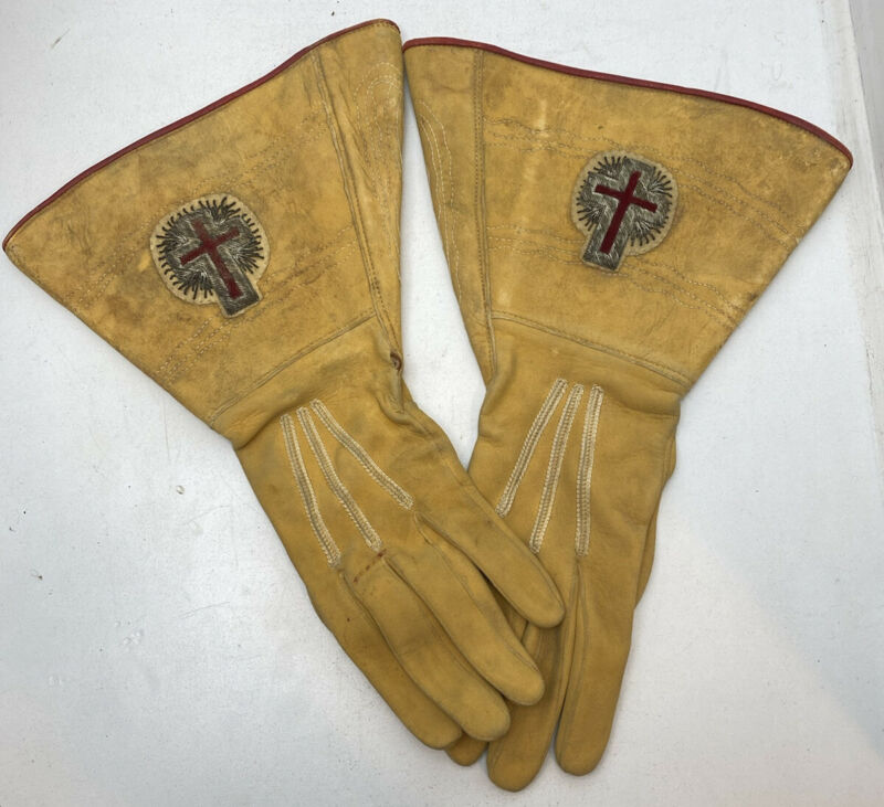 Victorian Masonic Knights Templar Silver Cross Leather Gauntlet Gloves Antique!