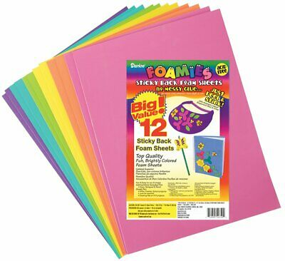 Foamies® Sticky Back Sheets - Bright Colors - 9 x 12 in - 12 pcs