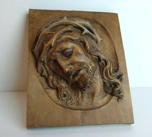 Hand Carved Wood Handgeschnitzt Oberammergau Plaque Christ w/ Crown of Thorns