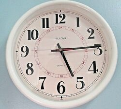 Vintage Bulova Wall Clock Round 12 Cream Frame Battery Operated