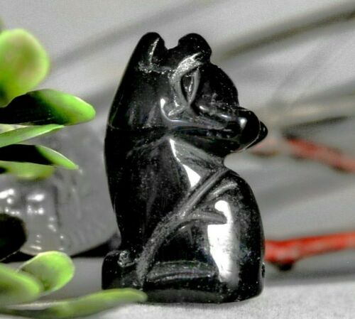 Black Howling Wolf Totem Obsidian Gemstone Fetish Spirit Animal Figurine 815