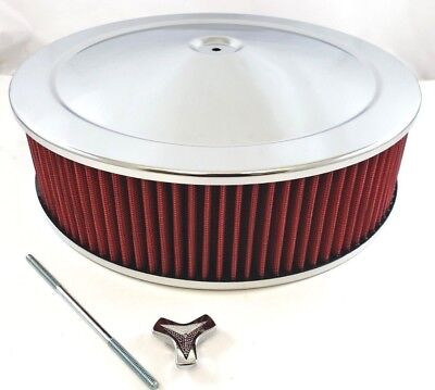 """14"""" x 4"""" Chrome Steel Performance Air Cleaner Kit W/ Washable Red Filter 14x4"""