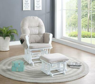 Naomi Home Brisbane Glider & Ottoman Set White Cream