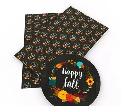 Happy Fall floral wreath Halloween faux leather fabric sheet / full or 1/2 sheet - Fall Halloween Wreaths