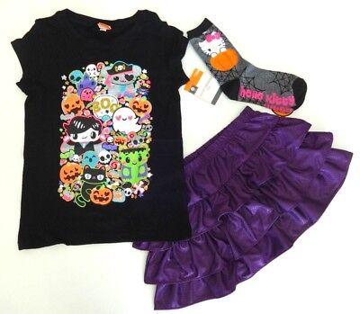 Halloween Mädchen 122/128 Set 3 tlg NEU USA Paket Rock Shirt Kürbis Gespenst lil