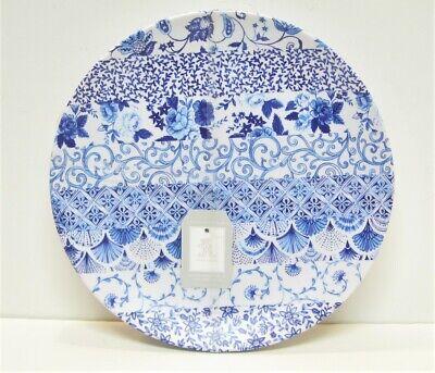 """Set / 4 Rachel Ashwell Home Melamine 11"""" Dinner Plates Delft Blue"""